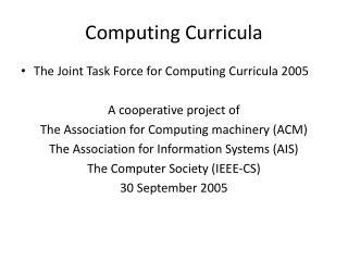 Computing Curricula
