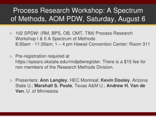 Process Research Workshop: A Spectrum of Methods, AOM PDW, Saturday, August 6