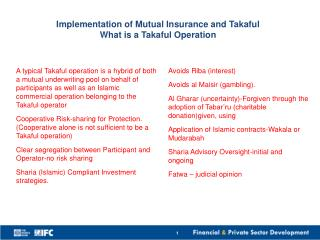 Implementation of Mutual Insurance and  T akaful   What  is a Takaful  Operation