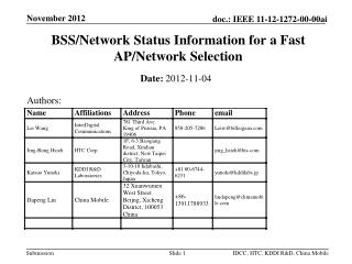 BSS/Network Status Information for a Fast AP/Network Selection