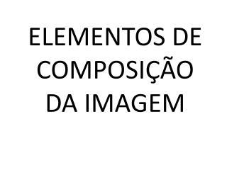 ELEMENTOS DE COMPOSI��O DA IMAGEM