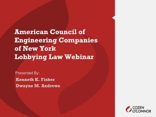 American Council of Engineering Companies of New York Lobbying Law Webinar