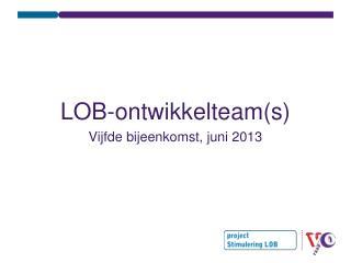 LOB-ontwikkelteam(s) Vijfde bijeenkomst, juni 2013