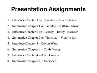 Presentation Assignments