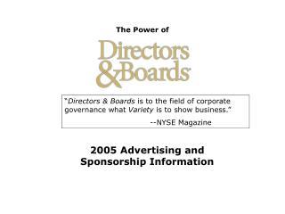 2005 Advertising and Sponsorship Information