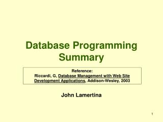 Database Programming Summary