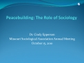 Peacebuilding: The Role of Sociology