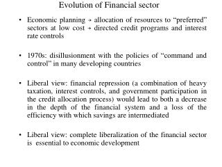 Evolution of Financial sector
