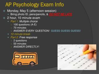 AP Psychology Exam Info