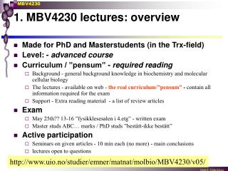 1. MBV4230 lectures: overview