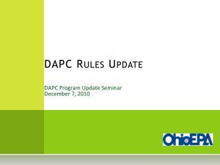 DAPC Program Update Seminar December 7, 2010