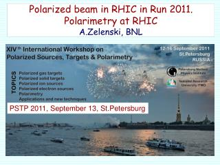 Polarized beam in RHIC in Run 2011. Polarimetry at RHIC A.Zelenski, BNL