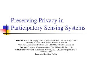 Preserving Privacy in Participatory Sensing Systems