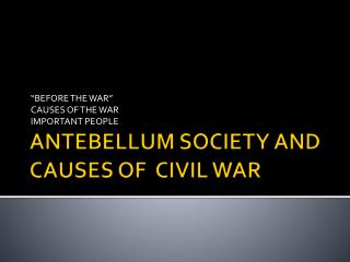 ANTEBELLUM SOCIETY AND CAUSES OF  CIVIL WAR