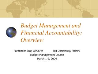 Budget Management and Financial Accountability: Overview