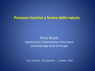 Primo Brandi Dipartimento di Matematica e Informatica Università degli Studi di Perugia