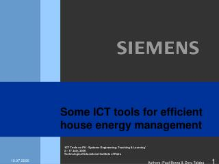 Some ICT tools for efficient house energy management