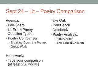 Sept 24 – Lit – Poetry Comparison