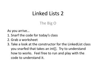 Linked Lists 2