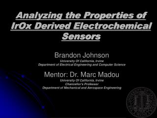 Analyzing the Properties of IrOx Derived Electrochemical Sensors
