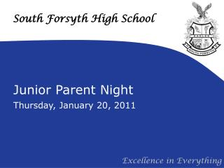 Junior Parent Night Thursday, January 20, 2011