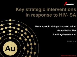 Key strategic interventions in response to HIV- SA