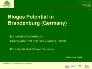 Biogas Potential in Brandenburg (Germany)