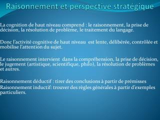 Raisonnement et perspective stratégique