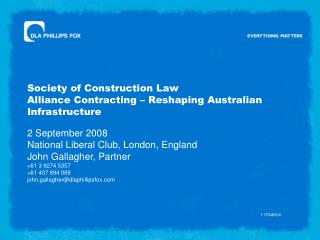Society of Construction Law Alliance Contracting   Reshaping Australian Infrastructure