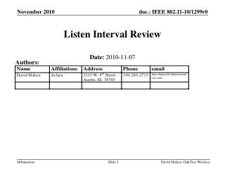 Listen Interval Review