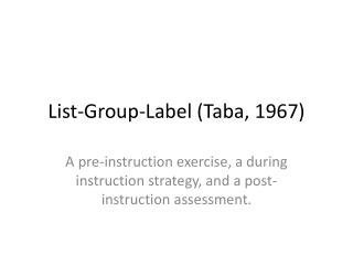 List-Group-Label ( Taba ,  1967)