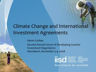 Climate Change and International Investment Agreements