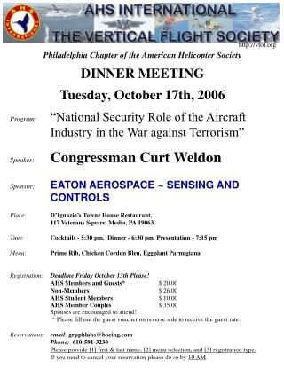 Philadelphia Chapter of the American Helicopter Society DINNER MEETING Tuesday, October 17th, 2006
