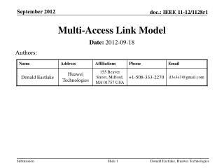 Multi-Access Link Model