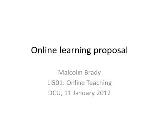 Online learning proposal