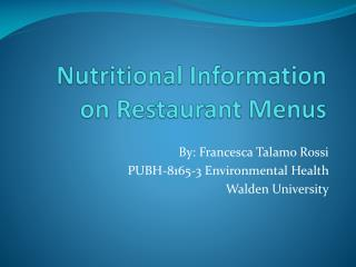 Nutritional Information on Restaurant Menus