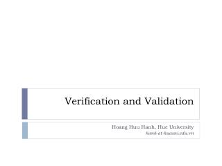 Verification and Validation