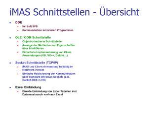 iMAS Schnittstellen - �bersicht