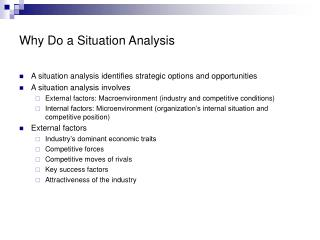 Why Do a Situation Analysis