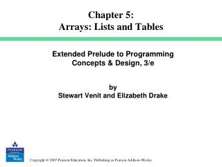 Chapter 5: Arrays: Lists and Tables