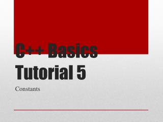 C++ Basics Tutorial 5
