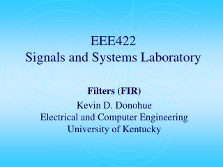 EEE422  Signals and Systems Laboratory