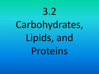 3.2 Carbohydrates, Lipids, and Proteins