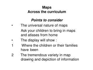 Maps Across the curriculum