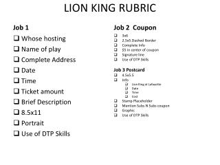 LION KING RUBRIC