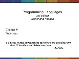 Programming Languages 2nd edition Tucker and Noonan