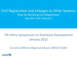 7th  Africa Symposium on Statistical Development  January  2012