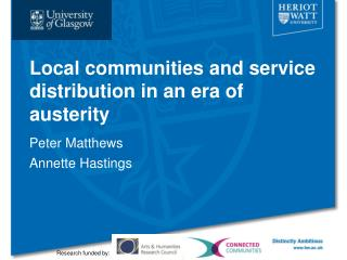 Local communities and service distribution in an era of austerity