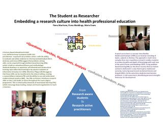 The Student as Researcher  Embedding a research culture into health professional education
