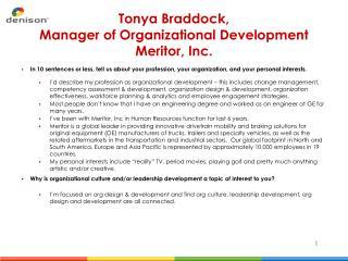 Tonya Braddock, Manager of Organizational Development Meritor, Inc.